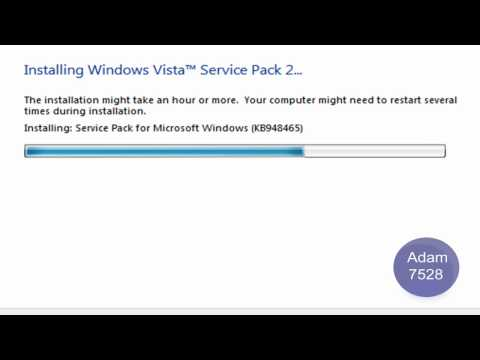 Installing Windows Vista Service Pack 2