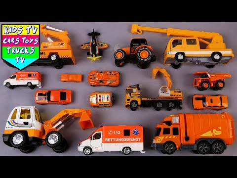 Learn Orange Color With Vehicles For Kids Children Babies Toddlers | Color Song |Kindergarten Videos
