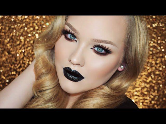 Bronzed Glitter Smokey Eyes - Vampy Lips Makeup