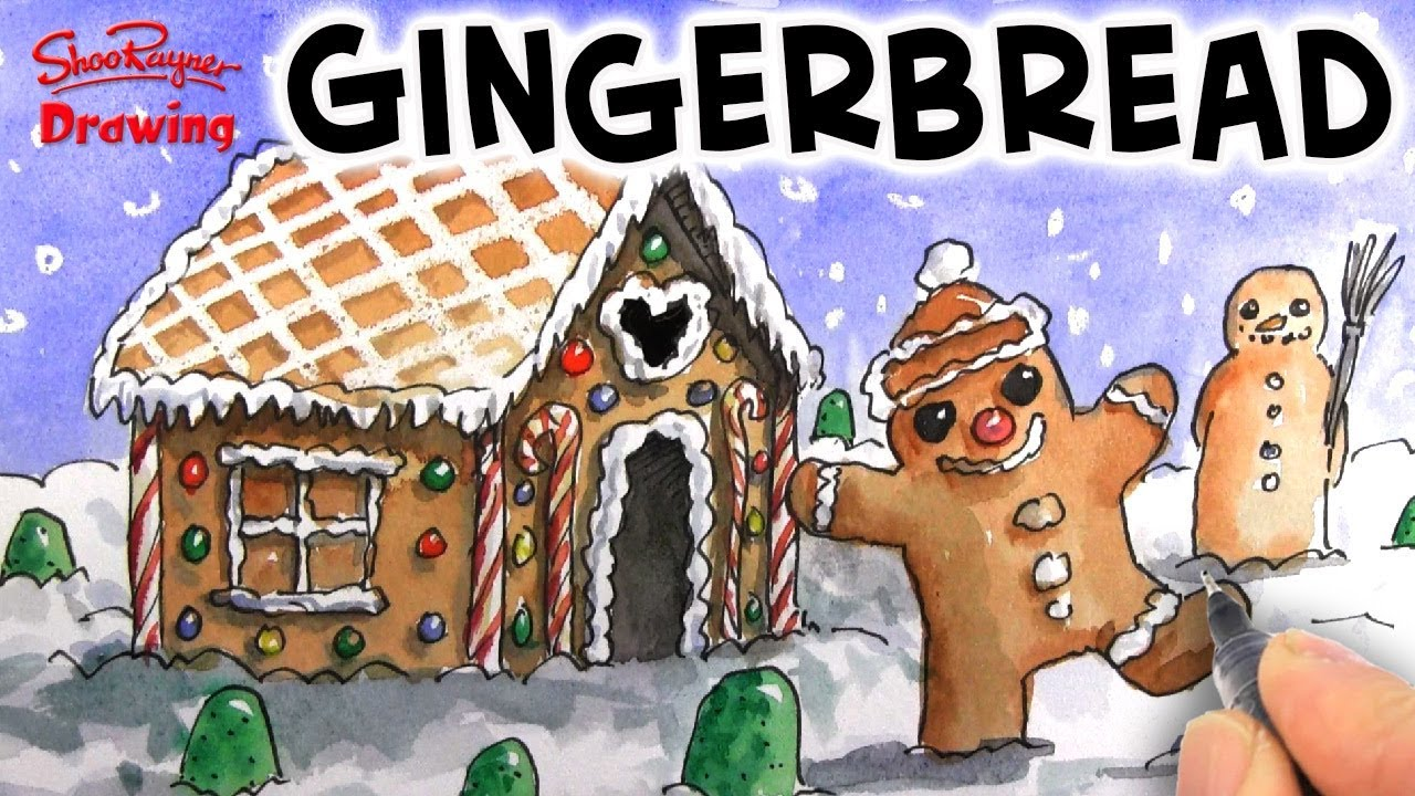 Live painting \u0026 drawing a Gingerbread House and Person Christmas Scene