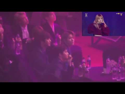 170119 EXO Reaction To Black Pink Playing With Fire + Boombayah  @ Seoul Music Awards