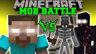HEROBRINE VS MUTANT SKELETON & MUTANT OBSIDIAN GOLEM - Minecraft Mob Battles - Minecraft Mods