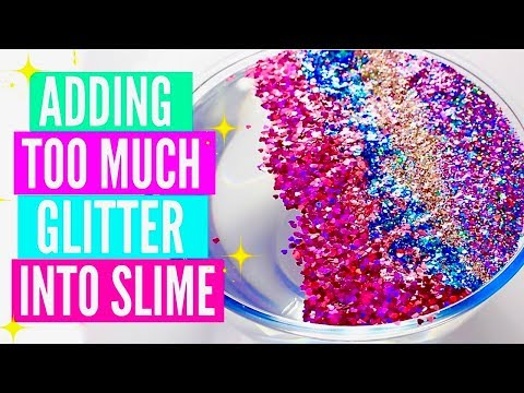 ADDING TOO MUCH INGREDIENTS INTO SLIME + giveaway! Adding Too Much Of Everything GLITTER Into SLIME!