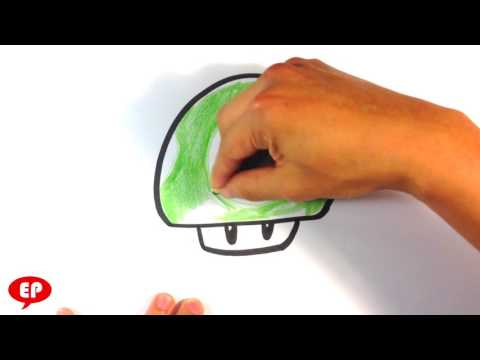 How to Draw a Mario Mushroom (green) - Easy Pictures to Draw