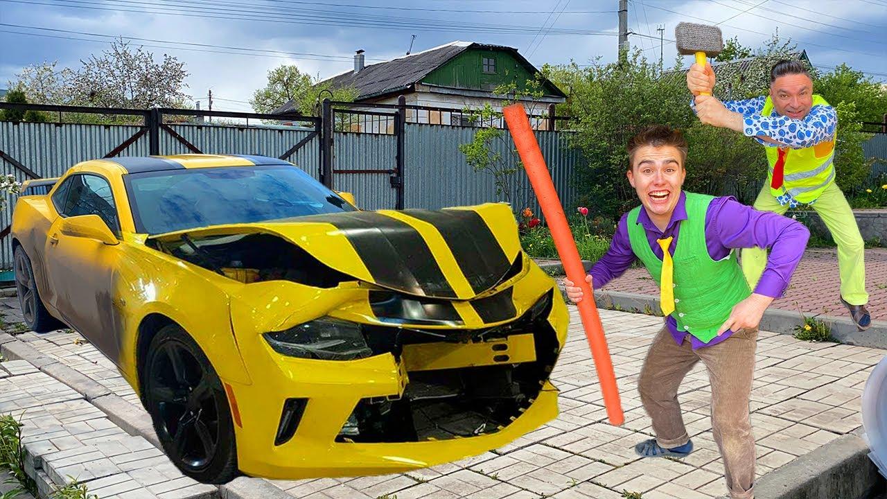 Mr. Joe CRASHED Audi Q3 with Stick VS Older Mr. Joe SMASHED Chevy Camaro with Hammer 13+