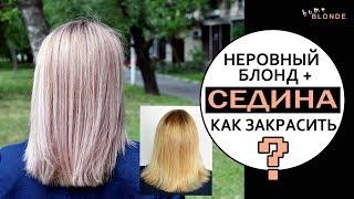 Как закрасить СЕДИНУ и выровнять блонд ДОМА | Красители ESTEL 8.71 и 9.76 | Обратный БАЛАЯЖ