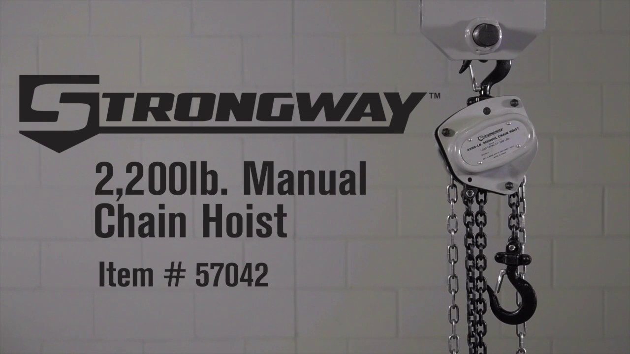 strongway manual chain hoist 2200 lb capacity 20ft max lift [ 1280 x 720 Pixel ]