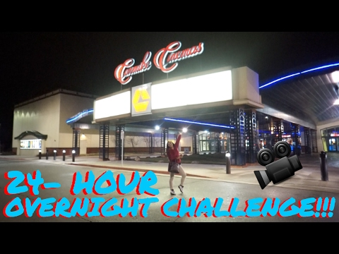 (SCARY AF!) 24 HOUR OVERNIGHT CHALLENGE in CARMIKE MOVIE THEATER!!!!