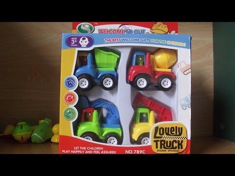 Xe đồ chơi - ô tô, cần cẩu, máy xúc, xe trộn bê tông xây dựng - Dolphin studio