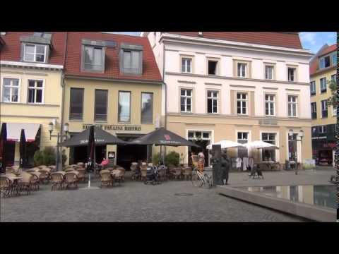 Walking in a pedestrian street in Greifswald-Germany