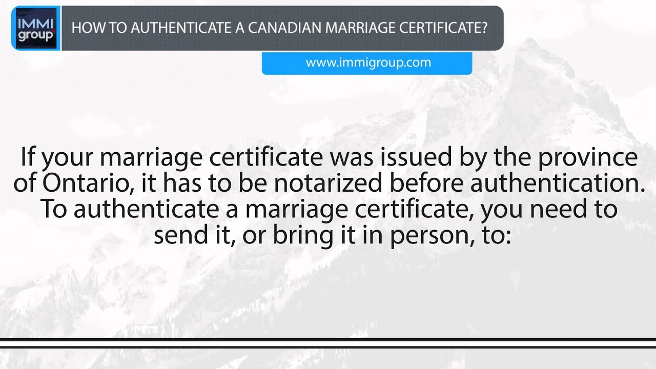 How To Authenticate A Canadian Marriage Certificate Youtube