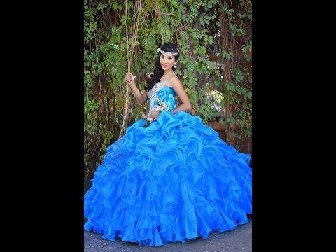 Vestido azul turquesa de 15