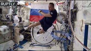Zero gravity football: Russian cosmonauts show off skills ahead of World Cup
