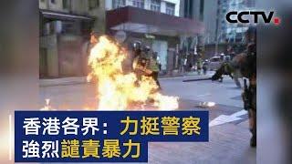 香港各界:力挺警察 强烈谴责极端违法暴力行径 | CCTV