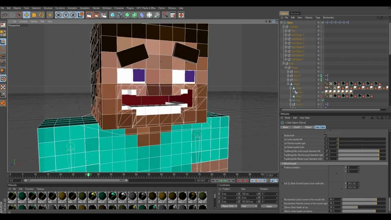 3d Interactive Wallpaper Minecraft Cinema 4d Character Rigs And Walk Cycles Youtube