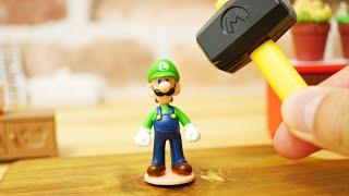 LEGO super mario StopMotion cooking!「Luigi hat sandwich」 レゴマリオの不思議な料理「ルイージ帽子ロールパンサンド」