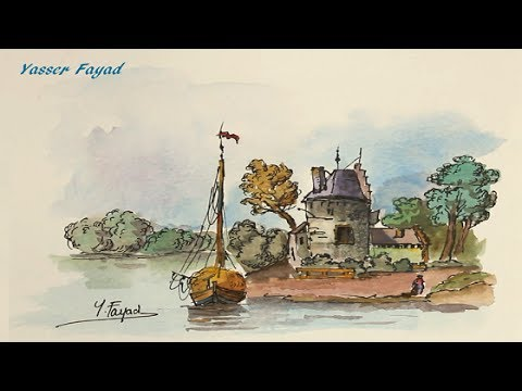 Draw Pen And Paint Watercolor Landscape With Yasser Fayad