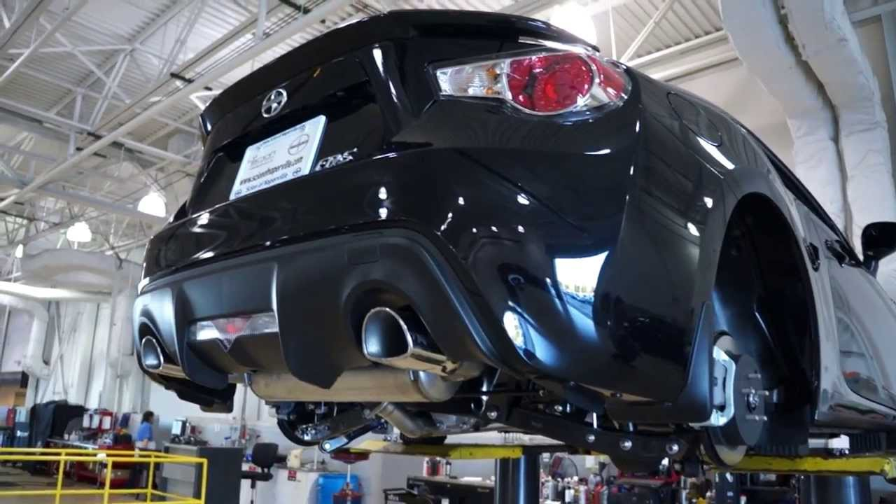 2014 Scion FRS TRD Catback exhaust view from underneath the car in
