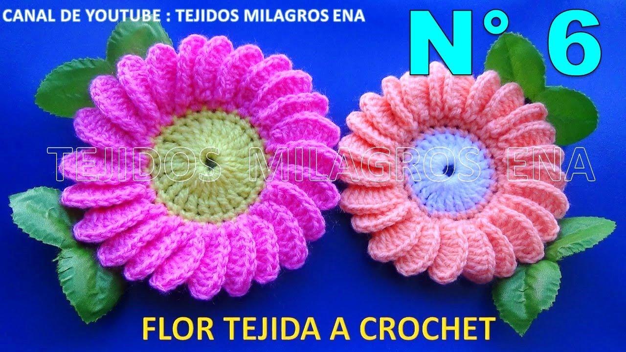 Flor margarita tejida crochet a ganchillo paso a paso fácil de tejer ...