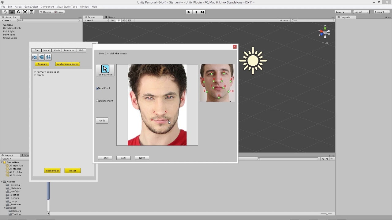 Video tutorial for NaturalFront 3D Face Animation Unity Plugin Free version