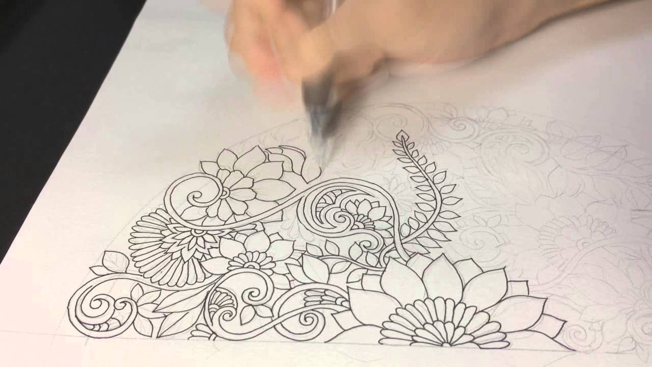 How to draw symmetry floral mandala by Miura Takao