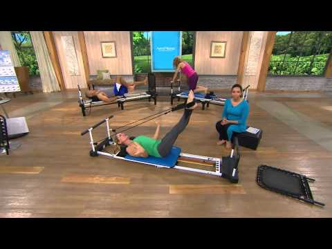 AeroPilates Reformer Plus 5 Cord w/ DVD's Pull Up Bar and Rebounder with Amy Stran