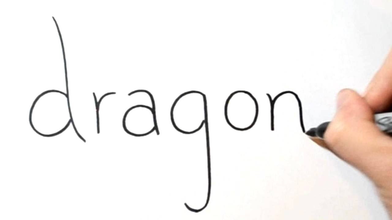 How to turn words dragon into a cartoon 8