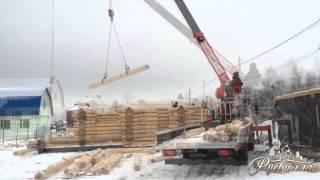 Монтаж деревянного дома: сборка сруба из бревна при помощи крана манипулятора(, 2013-12-16T19:43:54.000Z)