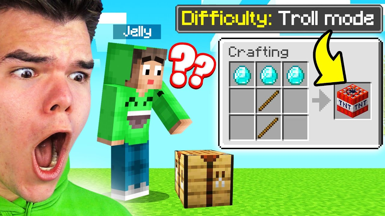 Playing MINECRAFT On TROLL DIFFICULTY MODE! (Funny)