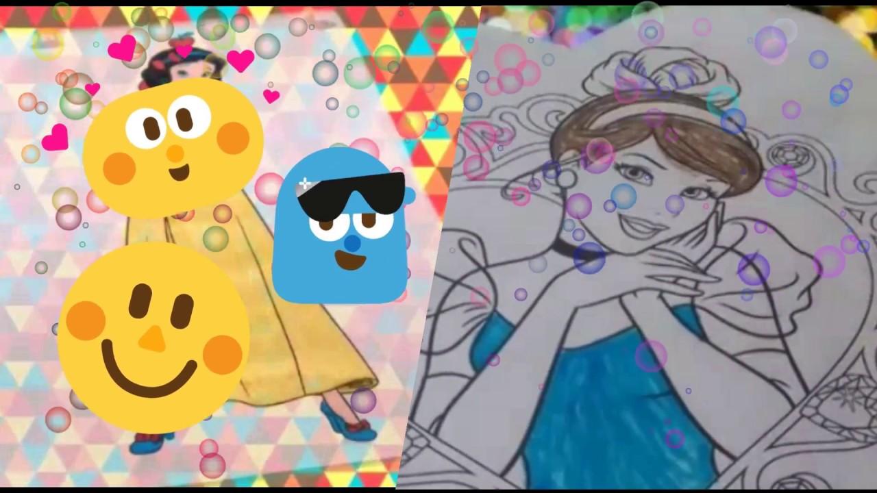 Coloreando princesas Disney - Rapunzel, Cenicienta (Cinderella) y ...