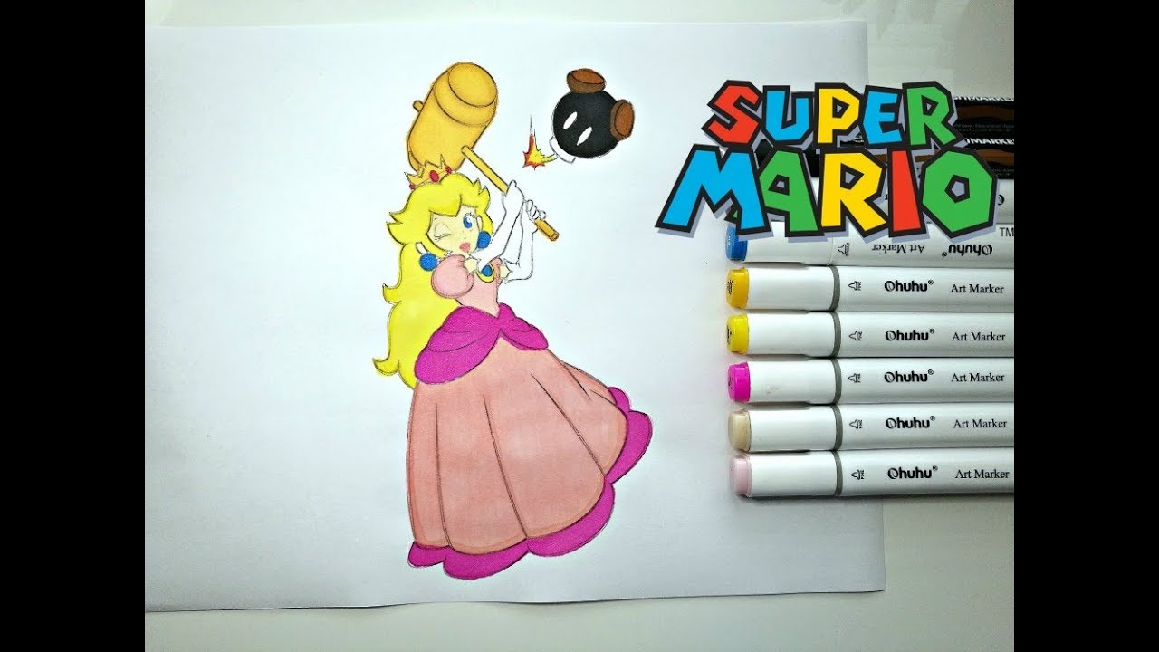 Coloring Pages Princess Peach : Princess peach with hammer coloring page! kids coloring page