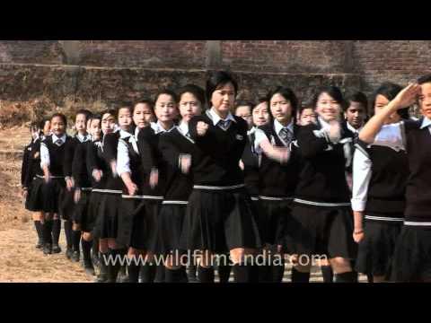 Girls march past at Don Bosco School, Kohima