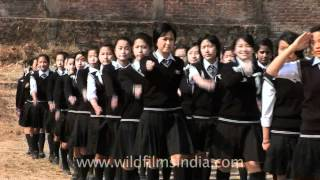 Girls march past at Don Bosco School, Kohima