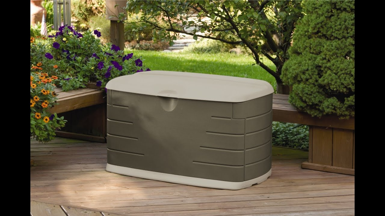 & Rubbermaid 5F21 Deck Box with Seat - YouTube
