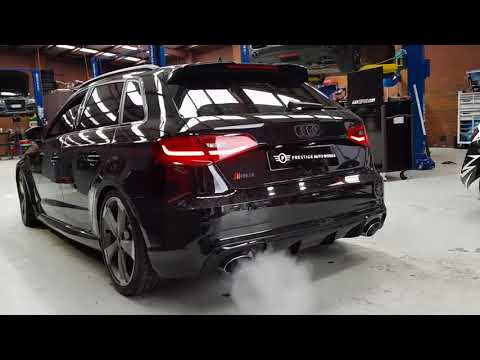 Audi RS3 Hatchback Pop Bang Revs w/ ARMYTRIX Secondary Decat Pipe & APR Tuned