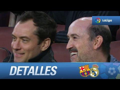 Jude Law y Javier Cámara en las gradas del Camp Nou