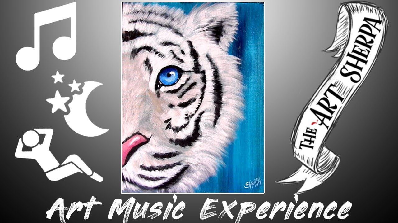 White Tiger Creatively Satisfying Acrylic Techniques Relaxation Zen Piano Music Day #05