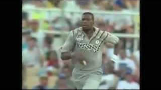 Curtly Ambrose vs Dean Jones.Aus vs WI cricket. Good ball!