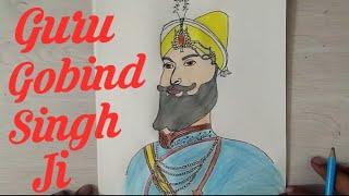 How to draw SHRI GUUR GOBIND SINGH JI Drawing Step by step || art tutorial || Sikh guru