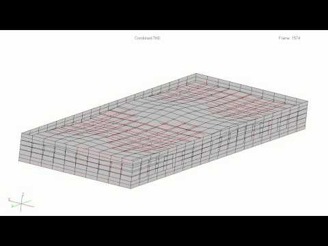 Animation of a concrete water pool for three-dimensional seismic input