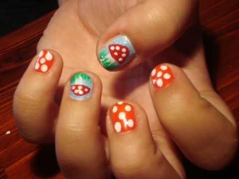 cute mushroom nail art tutorial for short nails level 2