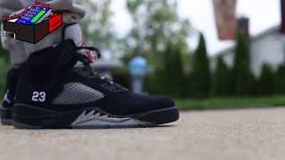 air jordan 5 v retro black metallic silver on feet eximus beat