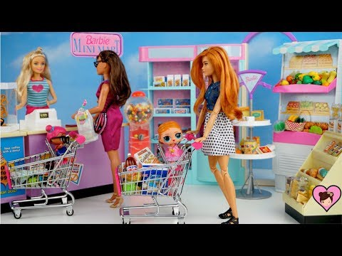 Barbie Doll Family LOL Surprise Baby Supermarket Routine -  Miniature Grocery Shopping Cart