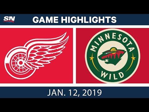 NHL Highlights | Red Wings vs. Wild - Jan. 12, 2019