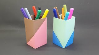 Paper Pen Holder Easy | How To Make Paper Pencil Stand | DIY Handmade Origami Pen Stand
