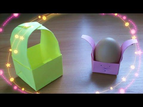 Видео Оригами Коробочка Зайчик и Корзинка по Одной Схеме. Подставка Для Яйца Из Бумаги