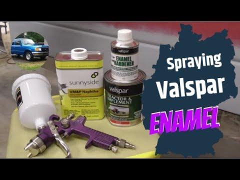 Spraying Valspar Tractor Paint with Purple Harbor Freight HVLP Gun