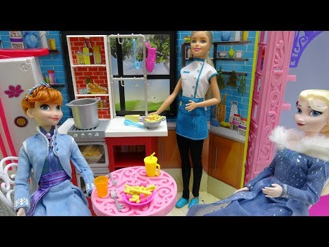 Thumbnail: Disney Princess Frozen Elsa Anna Barbie Spaghetti Chef playset Toy Play Dough