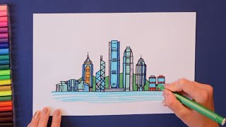 How to draw and color Hong Kong Skyline