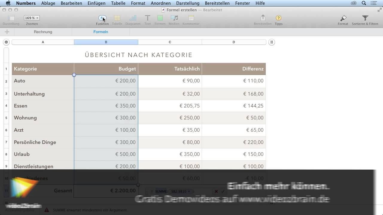 Tabellenkalkulation mit Numbers Tutorial: Der Formeleditor ...